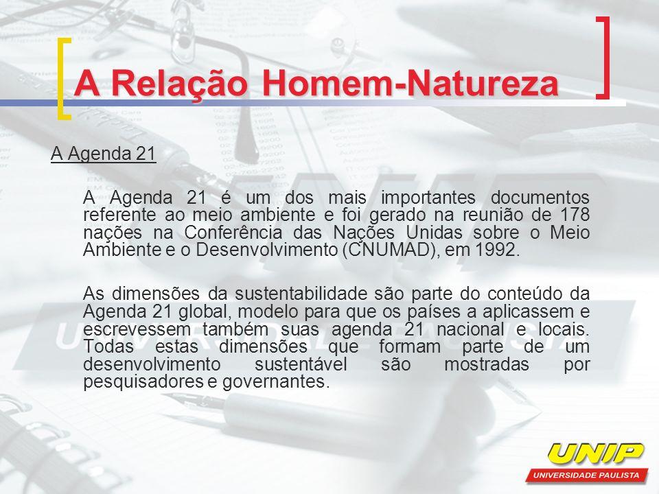 A Relação Homem-Natureza A Agenda 21 A Agenda 21 é um dos mais importantes documentos referente ao meio ambiente e foi gerado na reunião de 178 nações