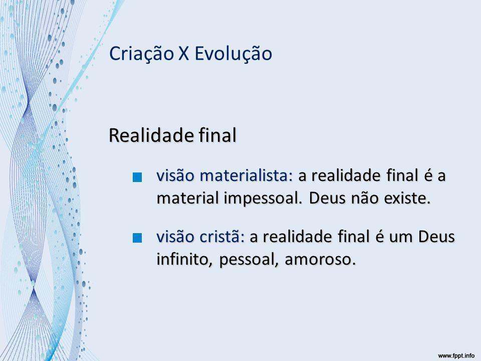 Realidade final visão materialista: a realidade final é a material impessoal.