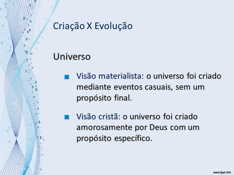 Universo Visão materialista: o universo foi criado mediante eventos casuais, sem um propósito final.