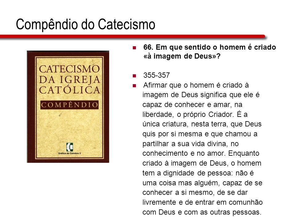 Compêndio do Catecismo 66. Em que sentido o homem é criado «à imagem de Deus»? 355-357 Afirmar que o homem é criado à imagem de Deus significa que ele