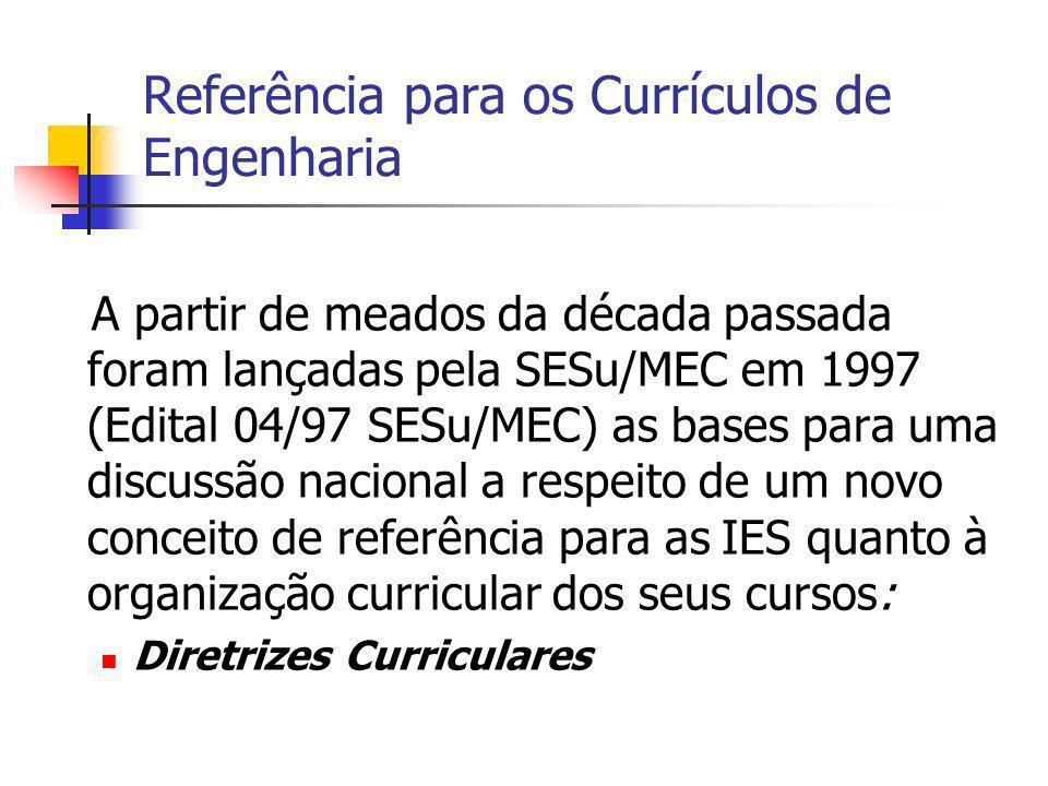 Referência para os Currículos de Engenharia A partir de meados da década passada foram lançadas pela SESu/MEC em 1997 (Edital 04/97 SESu/MEC) as bases para uma discussão nacional a respeito de um novo conceito de referência para as IES quanto à organização curricular dos seus cursos: Diretrizes Curriculares