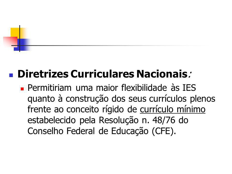 Diretrizes Curriculares Nacionais: Permitiriam uma maior flexibilidade às IES quanto à construção dos seus currículos plenos frente ao conceito rígido de currículo mínimo estabelecido pela Resolução n.