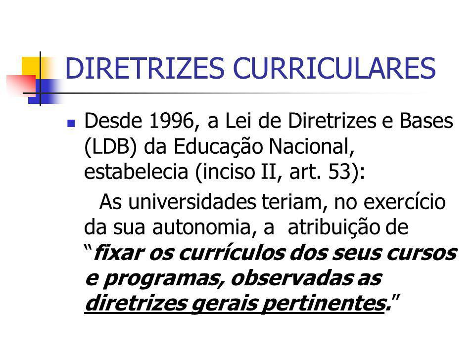 DIRETRIZES CURRICULARES Desde 1996, a Lei de Diretrizes e Bases (LDB) da Educação Nacional, estabelecia (inciso II, art. 53): As universidades teriam,