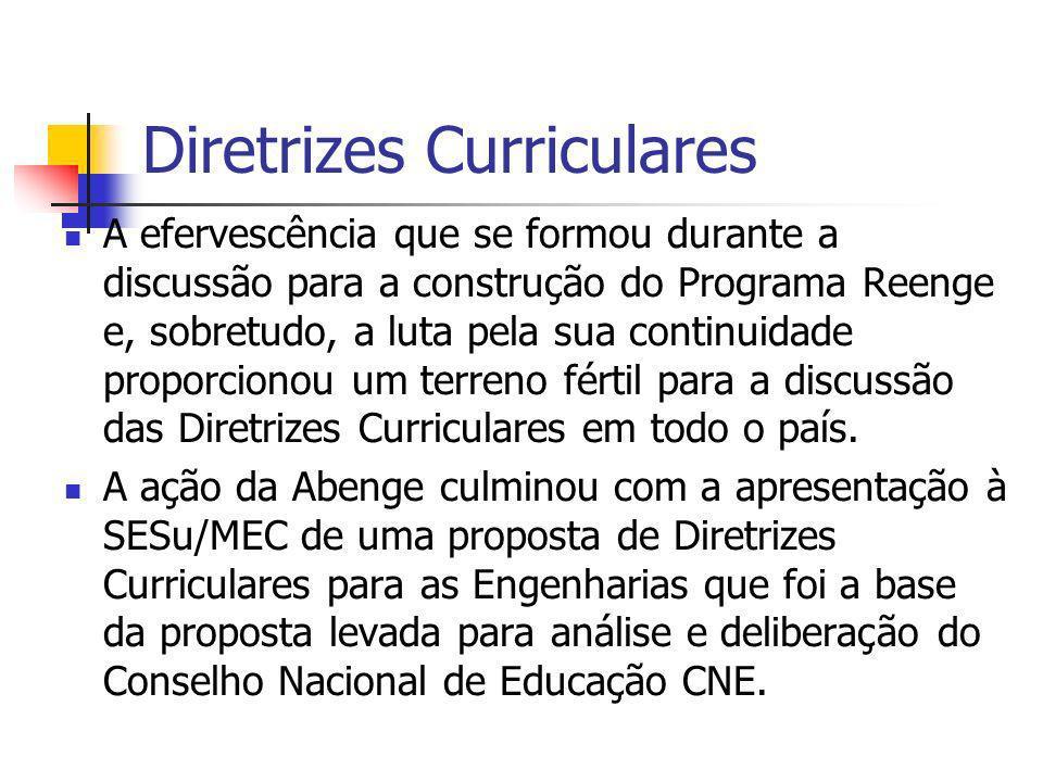 Diretrizes Curriculares A efervescência que se formou durante a discussão para a construção do Programa Reenge e, sobretudo, a luta pela sua continuid