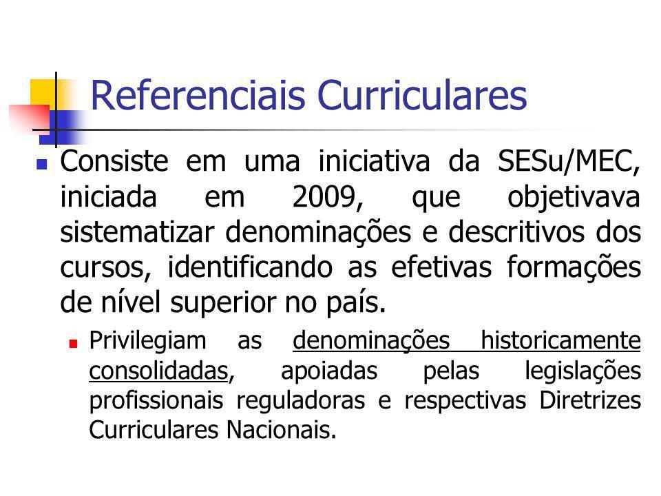 Referenciais Curriculares Consiste em uma iniciativa da SESu/MEC, iniciada em 2009, que objetivava sistematizar denominações e descritivos dos cursos, identificando as efetivas formações de nível superior no país.