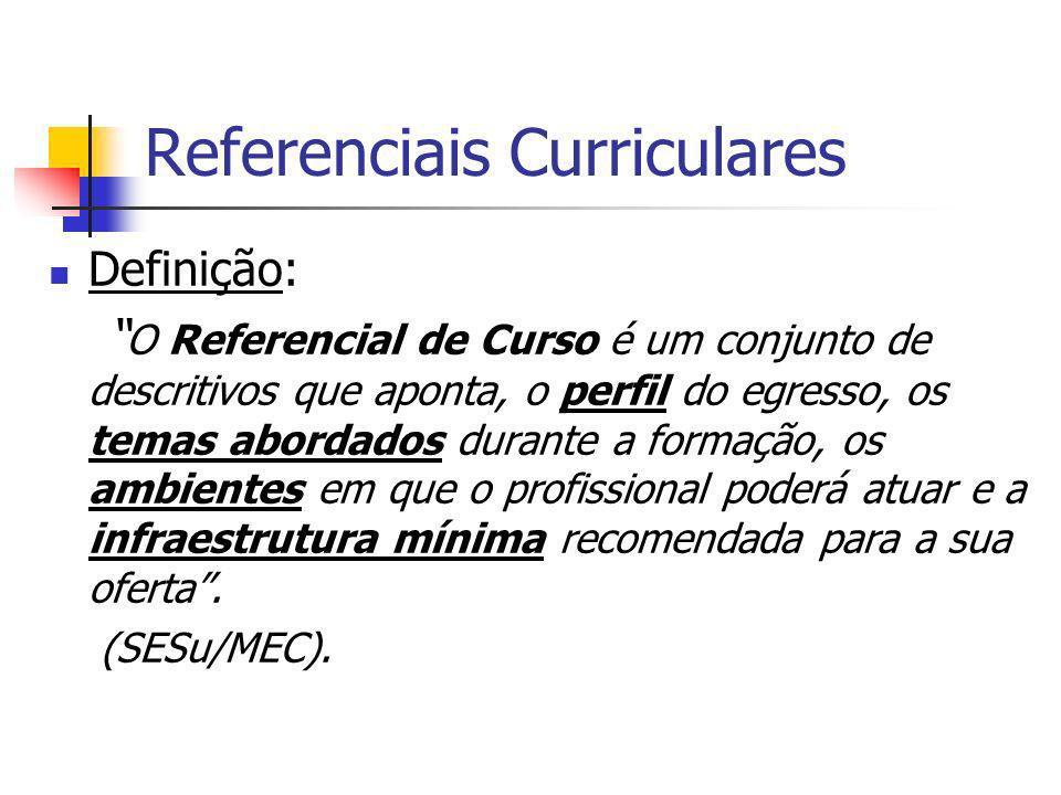 Referenciais Curriculares Definição: O Referencial de Curso é um conjunto de descritivos que aponta, o perfil do egresso, os temas abordados durante a