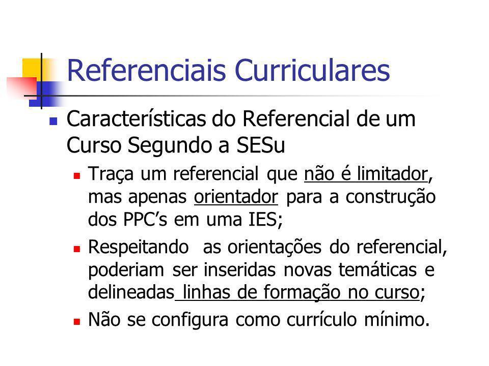 Referenciais Curriculares Características do Referencial de um Curso Segundo a SESu Traça um referencial que não é limitador, mas apenas orientador pa