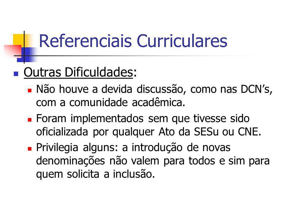 Referenciais Curriculares Outras Dificuldades: Não houve a devida discussão, como nas DCNs, com a comunidade acadêmica. Foram implementados sem que ti