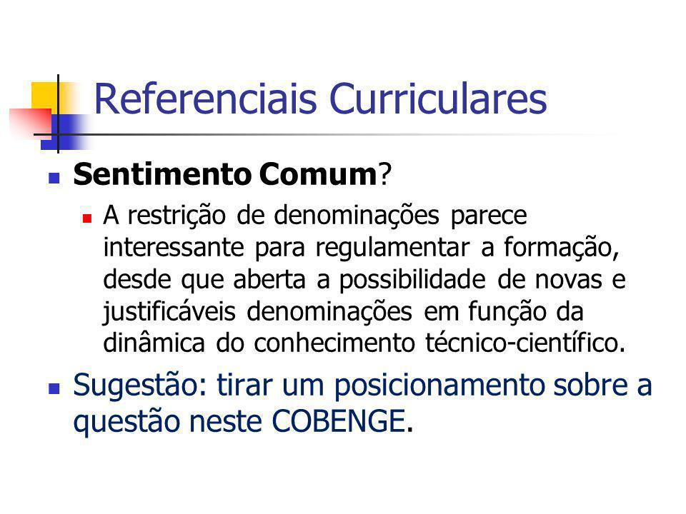 Referenciais Curriculares Sentimento Comum.