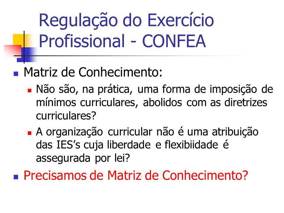 Regulação do Exercício Profissional - CONFEA Matriz de Conhecimento: Não são, na prática, uma forma de imposição de mínimos curriculares, abolidos com as diretrizes curriculares.