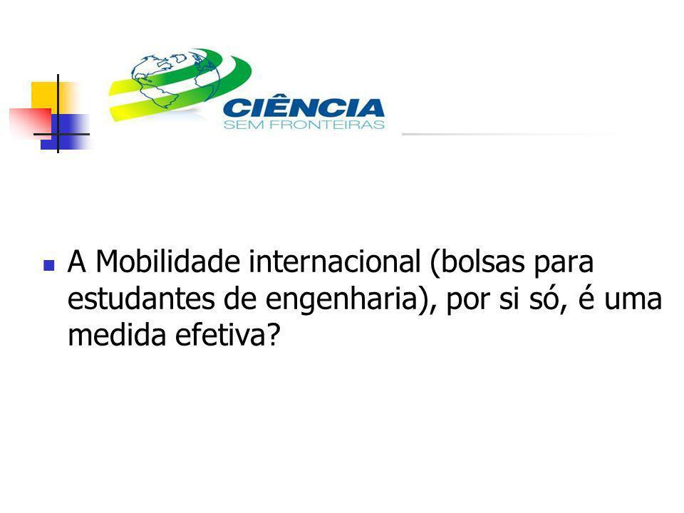 A Mobilidade internacional (bolsas para estudantes de engenharia), por si só, é uma medida efetiva