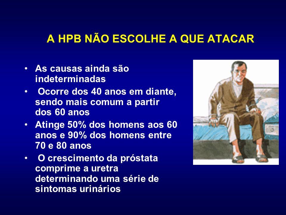 A HPB NÃO ESCOLHE A QUE ATACAR As causas ainda são indeterminadas Ocorre dos 40 anos em diante, sendo mais comum a partir dos 60 anos Atinge 50% dos h
