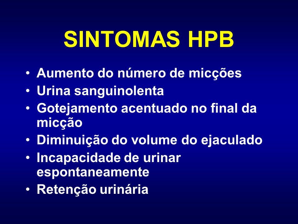SINTOMAS HPB Aumento do número de micções Urina sanguinolenta Gotejamento acentuado no final da micção Diminuição do volume do ejaculado Incapacidade