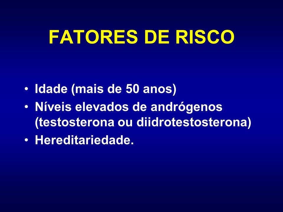 FATORES DE RISCO Idade (mais de 50 anos) Níveis elevados de andrógenos (testosterona ou diidrotestosterona) Hereditariedade.