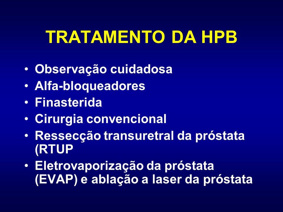 TRATAMENTO DA HPB Observação cuidadosa Alfa-bloqueadores Finasterida Cirurgia convencional Ressecção transuretral da próstata (RTUP Eletrovaporização