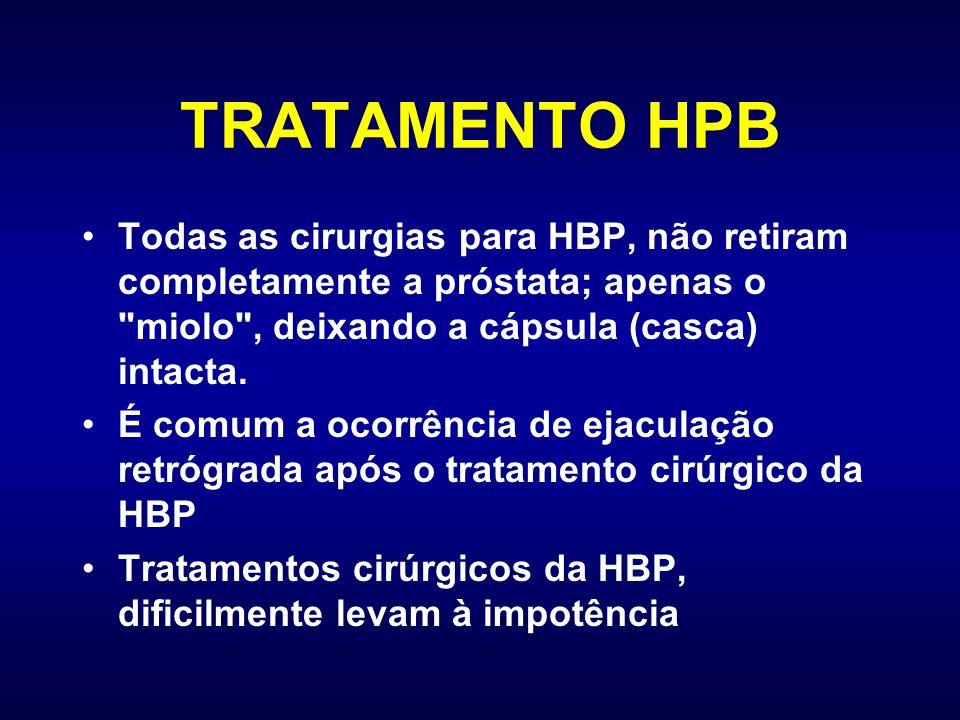 TRATAMENTO HPB Todas as cirurgias para HBP, não retiram completamente a próstata; apenas o