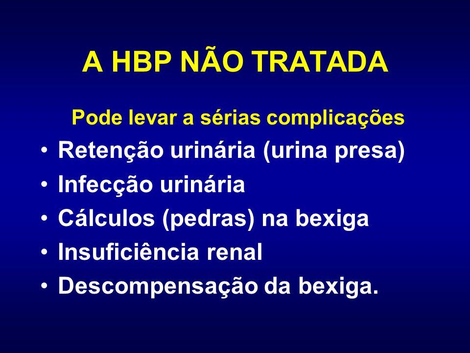 A HBP NÃO TRATADA Pode levar a sérias complicações Retenção urinária (urina presa) Infecção urinária Cálculos (pedras) na bexiga Insuficiência renal D
