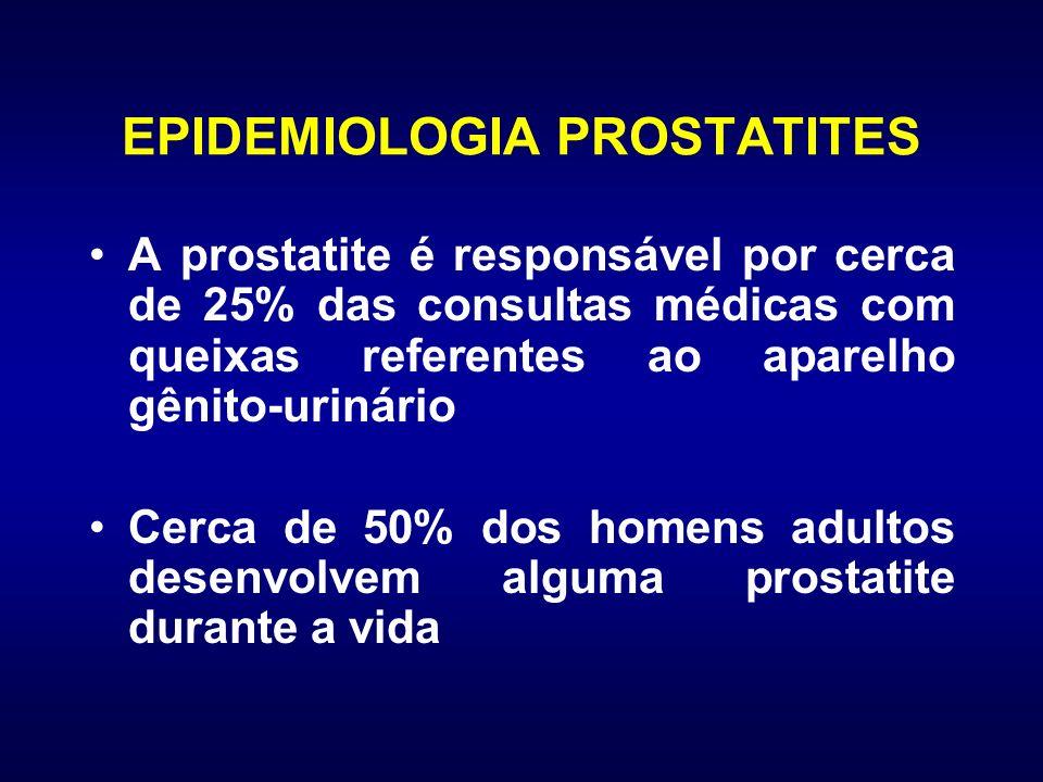 EPIDEMIOLOGIA PROSTATITES A prostatite é responsável por cerca de 25% das consultas médicas com queixas referentes ao aparelho gênito-urinário Cerca d