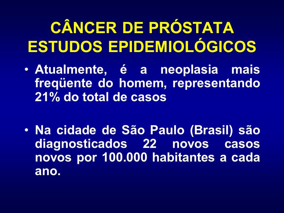 CÂNCER DE PRÓSTATA ESTUDOS EPIDEMIOLÓGICOS Atualmente, é a neoplasia mais freqüente do homem, representando 21% do total de casos Na cidade de São Pau