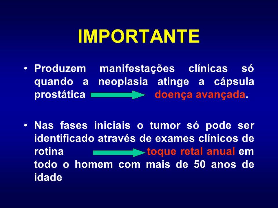IMPORTANTE Produzem manifestações clínicas só quando a neoplasia atinge a cápsula prostática doença avançada. Nas fases iniciais o tumor só pode ser i