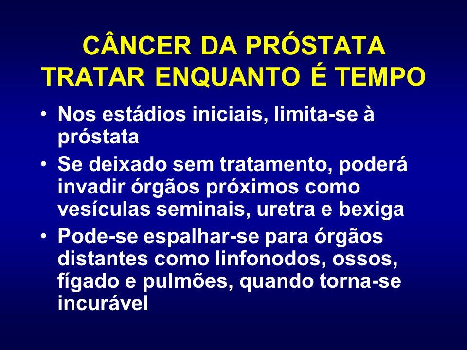 CÂNCER DA PRÓSTATA TRATAR ENQUANTO É TEMPO Nos estádios iniciais, limita-se à próstata Se deixado sem tratamento, poderá invadir órgãos próximos como