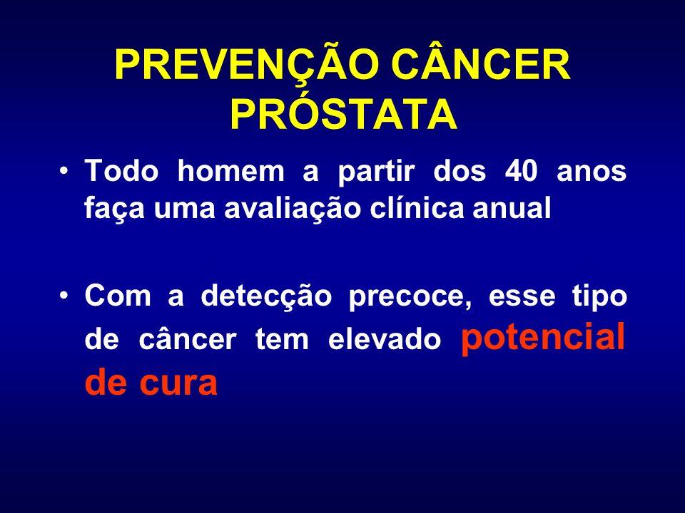 PREVENÇÃO CÂNCER PRÓSTATA Todo homem a partir dos 40 anos faça uma avaliação clínica anual Com a detecção precoce, esse tipo de câncer tem elevado pot