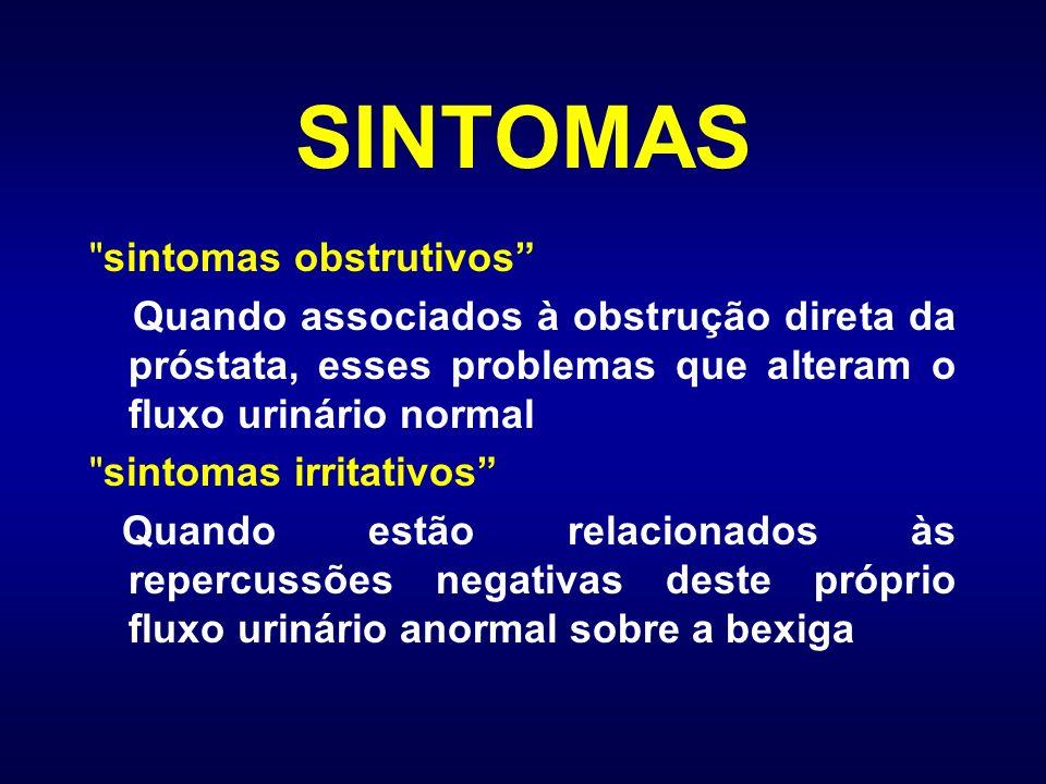 MEDIDAS DIAGNÓSTICAS Exames de laboratório (urina, PSA etc.) Toque retal ultra-sonografia da próstata Endoscopia urinária Urodinâmica