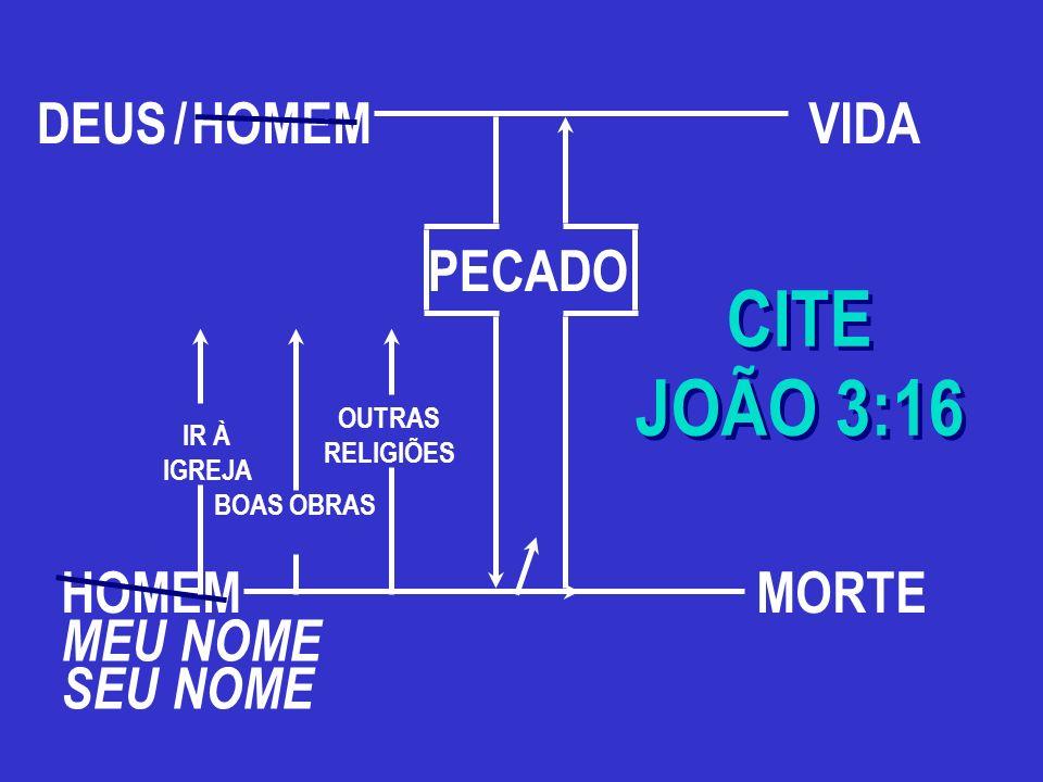 HOMEM CITE JOÃO 3:16 CITE JOÃO 3:16 MEU NOME SEU NOME BOAS OBRAS IR À IGREJA OUTRAS RELIGIÕES MORTE PECADO DEUS/VIDA