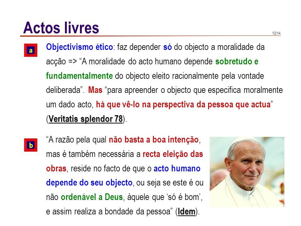 12/14 Actos livres Objectivismo ético : faz depender só do objecto a moralidade da acção => A moralidade do acto humano depende sobretudo e fundamenta