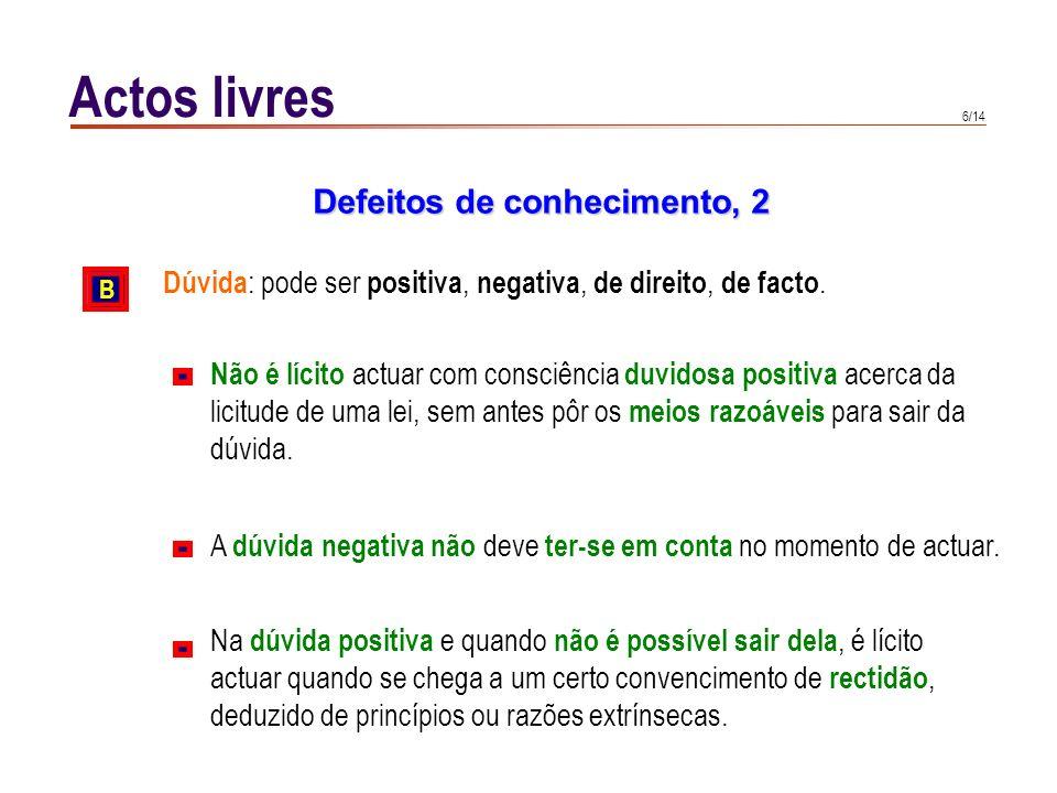 6/14 Actos livres Dúvida : pode ser positiva, negativa, de direito, de facto. Defeitos de conhecimento, 2 B Não é lícito actuar com consciência duvido