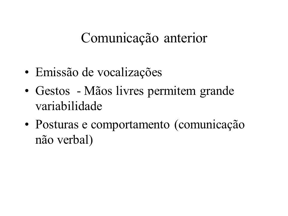 Comunicação anterior Emissão de vocalizações Gestos - Mãos livres permitem grande variabilidade Posturas e comportamento (comunicação não verbal)