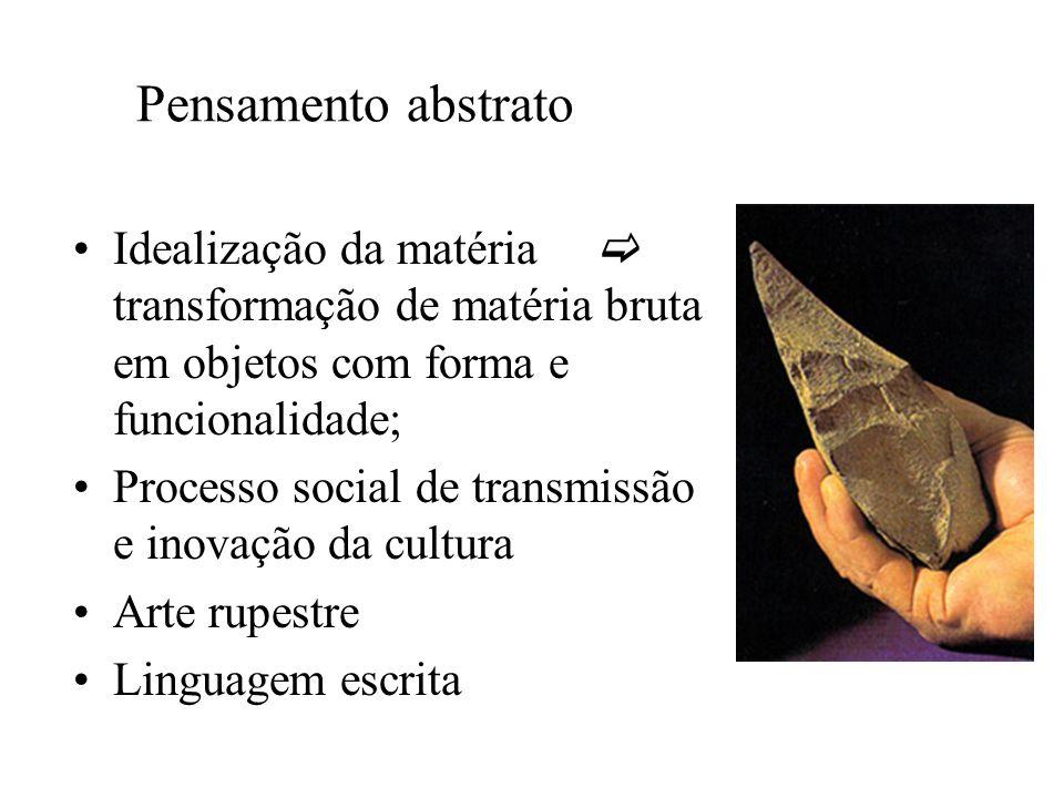 Pensamento abstrato Idealização da matéria transformação de matéria bruta em objetos com forma e funcionalidade; Processo social de transmissão e inovação da cultura Arte rupestre Linguagem escrita