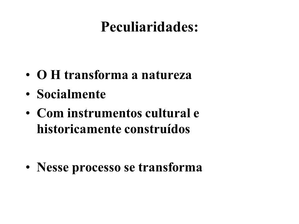 Peculiaridades: O H transforma a natureza Socialmente Com instrumentos cultural e historicamente construídos Nesse processo se transforma