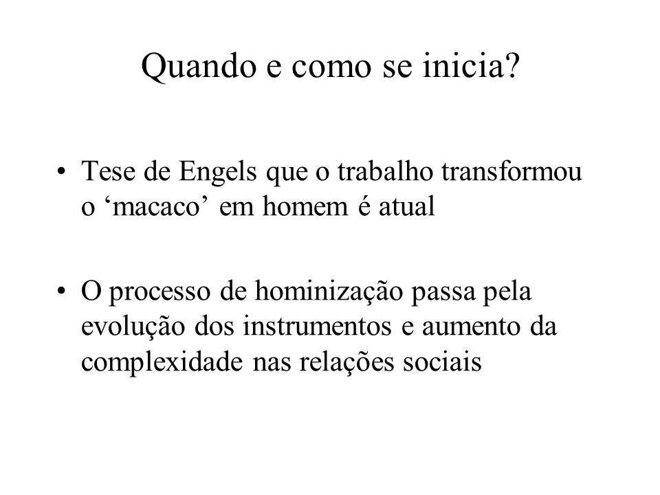 Quando e como se inicia? Tese de Engels que o trabalho transformou o macaco em homem é atual O processo de hominização passa pela evolução dos instrum