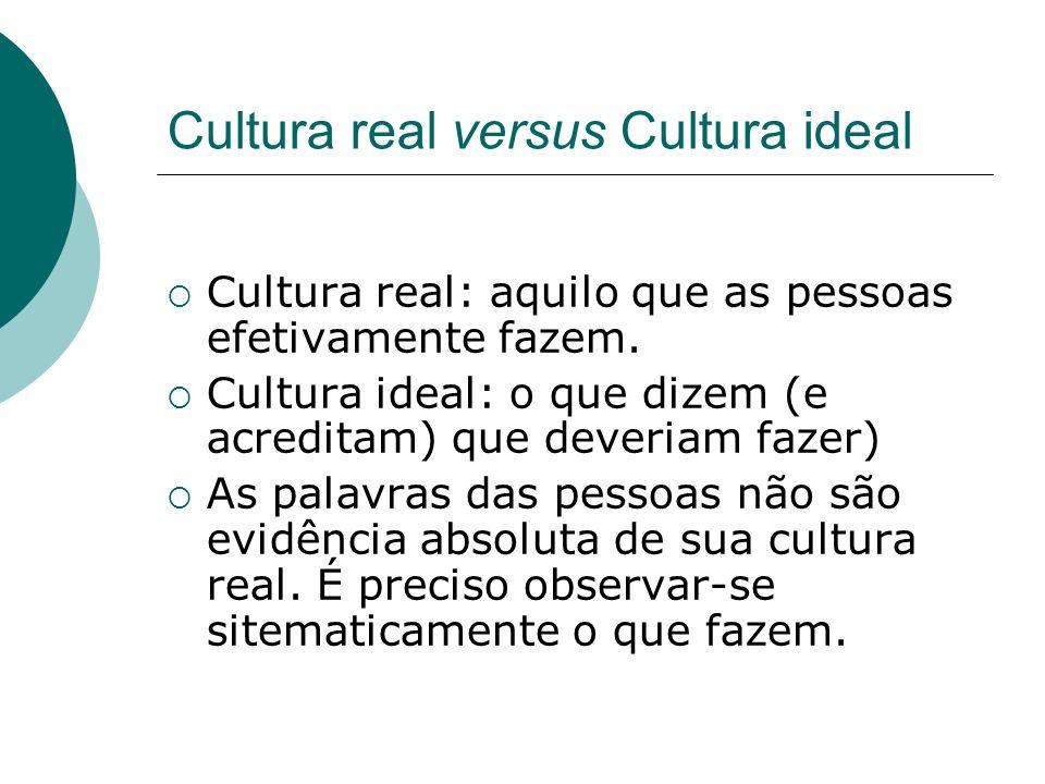 Cultura real versus Cultura ideal Cultura real: aquilo que as pessoas efetivamente fazem. Cultura ideal: o que dizem (e acreditam) que deveriam fazer)