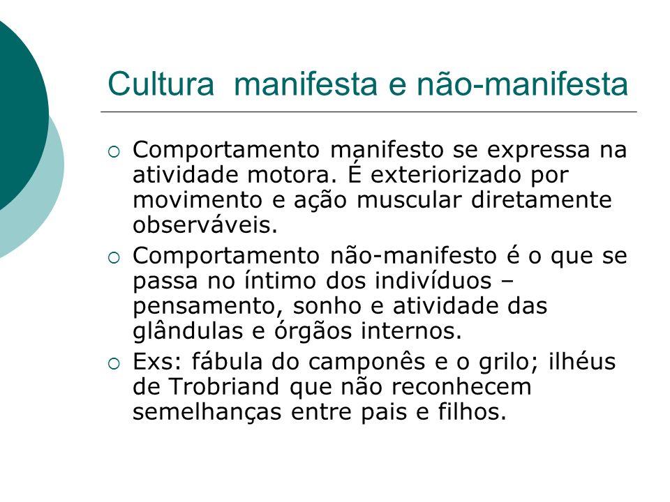 Cultura manifesta e não-manifesta Comportamento manifesto se expressa na atividade motora. É exteriorizado por movimento e ação muscular diretamente o
