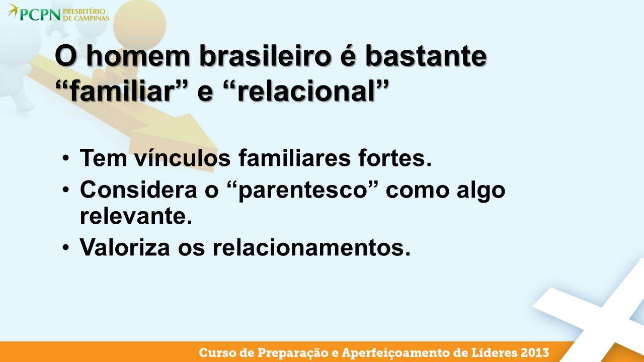 O homem brasileiro é bastante familiar e relacional Tem vínculos familiares fortes. Considera o parentesco como algo relevante. Valoriza os relacionam