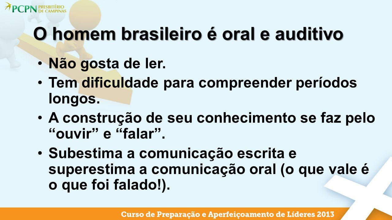 O homem brasileiro é oral e auditivo Não gosta de ler. Tem dificuldade para compreender períodos longos. A construção de seu conhecimento se faz pelo