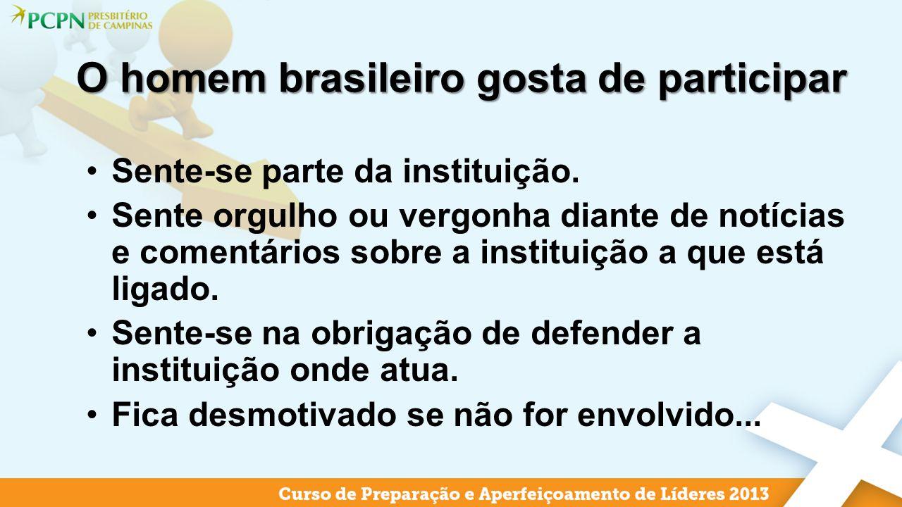 O homem brasileiro gosta de participar Sente-se parte da instituição. Sente orgulho ou vergonha diante de notícias e comentários sobre a instituição a