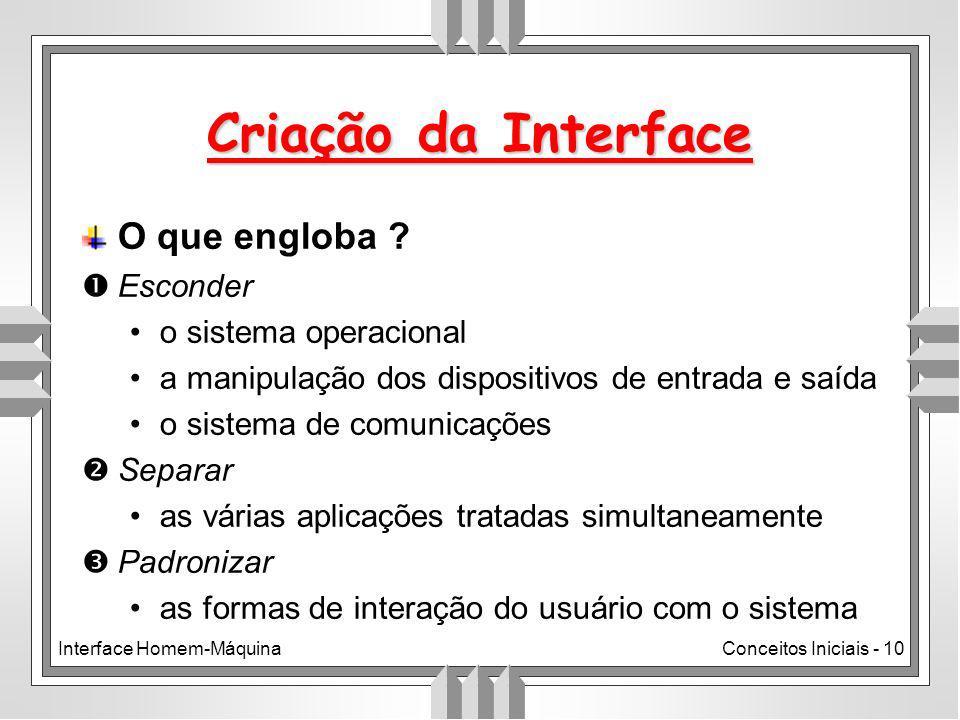 Interface Homem-MáquinaConceitos Iniciais - 10 O que engloba .