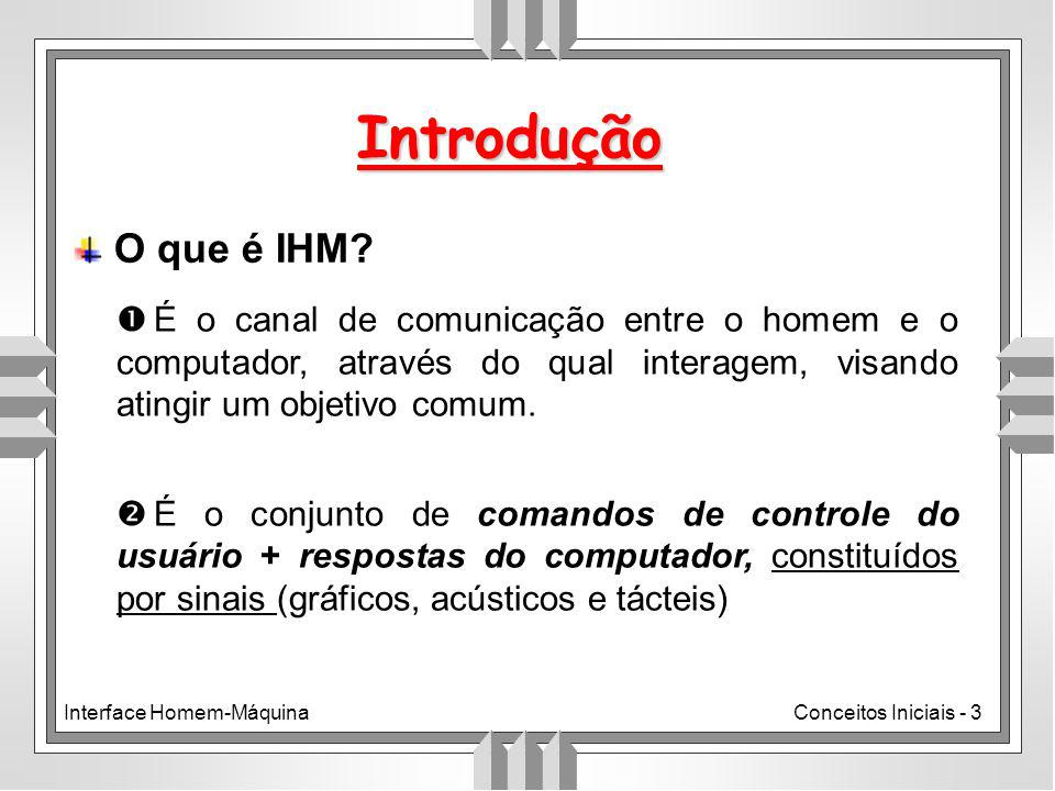 Interface Homem-MáquinaConceitos Iniciais - 3 Introdução O que é IHM.