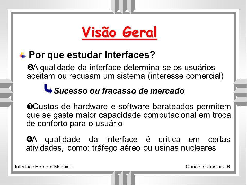 Interface Homem-MáquinaConceitos Iniciais - 6 Visão Geral Por que estudar Interfaces.