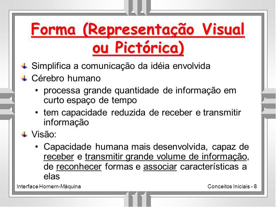 Interface Homem-MáquinaConceitos Iniciais - 8 Simplifica a comunicação da idéia envolvida Cérebro humano processa grande quantidade de informação em curto espaço de tempo tem capacidade reduzida de receber e transmitir informação Visão: Capacidade humana mais desenvolvida, capaz de receber e transmitir grande volume de informação, de reconhecer formas e associar características a elas Forma (Representação Visual ou Pictórica)