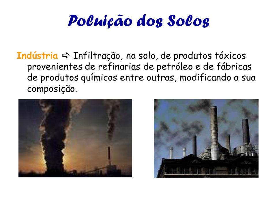 Poluição dos Solos Indústria Infiltração, no solo, de produtos tóxicos provenientes de refinarias de petróleo e de fábricas de produtos químicos entre outras, modificando a sua composição.