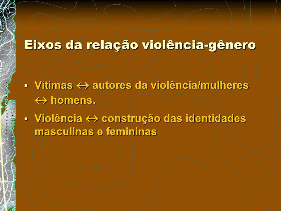Eixos da relação violência-gênero Vítimas autores da violência/mulheres homens. Vítimas autores da violência/mulheres homens. Violência construção das