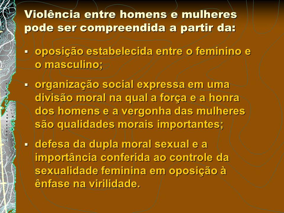 Violência entre homens e mulheres pode ser compreendida a partir da: oposição estabelecida entre o feminino e o masculino; oposição estabelecida entre