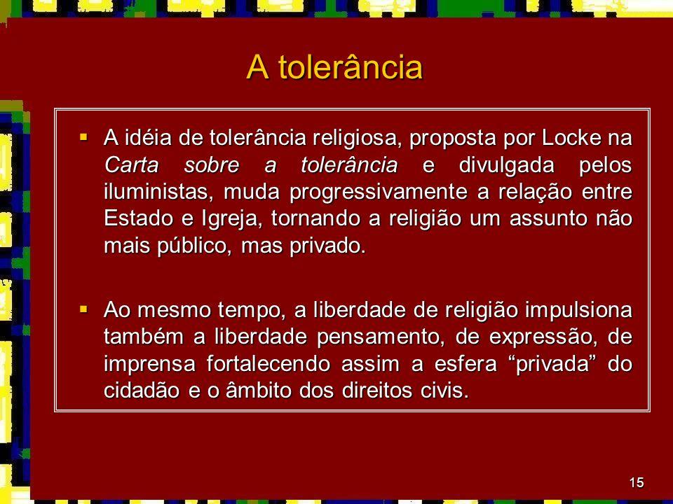 15 A tolerância A idéia de tolerância religiosa, proposta por Locke na Carta sobre a tolerância e divulgada pelos iluministas, muda progressivamente a relação entre Estado e Igreja, tornando a religião um assunto não mais público, mas privado.
