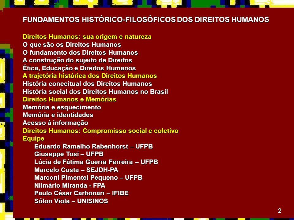 2 FUNDAMENTOS HISTÓRICO-FILOSÓFICOS DOS DIREITOS HUMANOS Direitos Humanos: sua origem e natureza O que são os Direitos Humanos O fundamento dos Direit