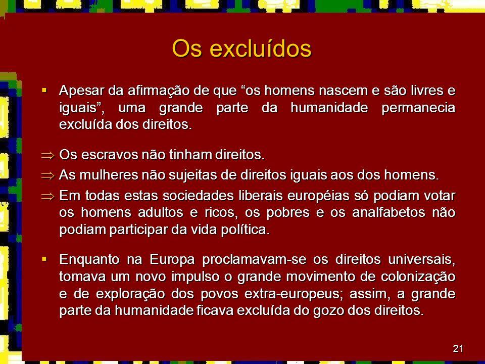 21 Os excluídos Apesar da afirmação de que os homens nascem e são livres e iguais, uma grande parte da humanidade permanecia excluída dos direitos.