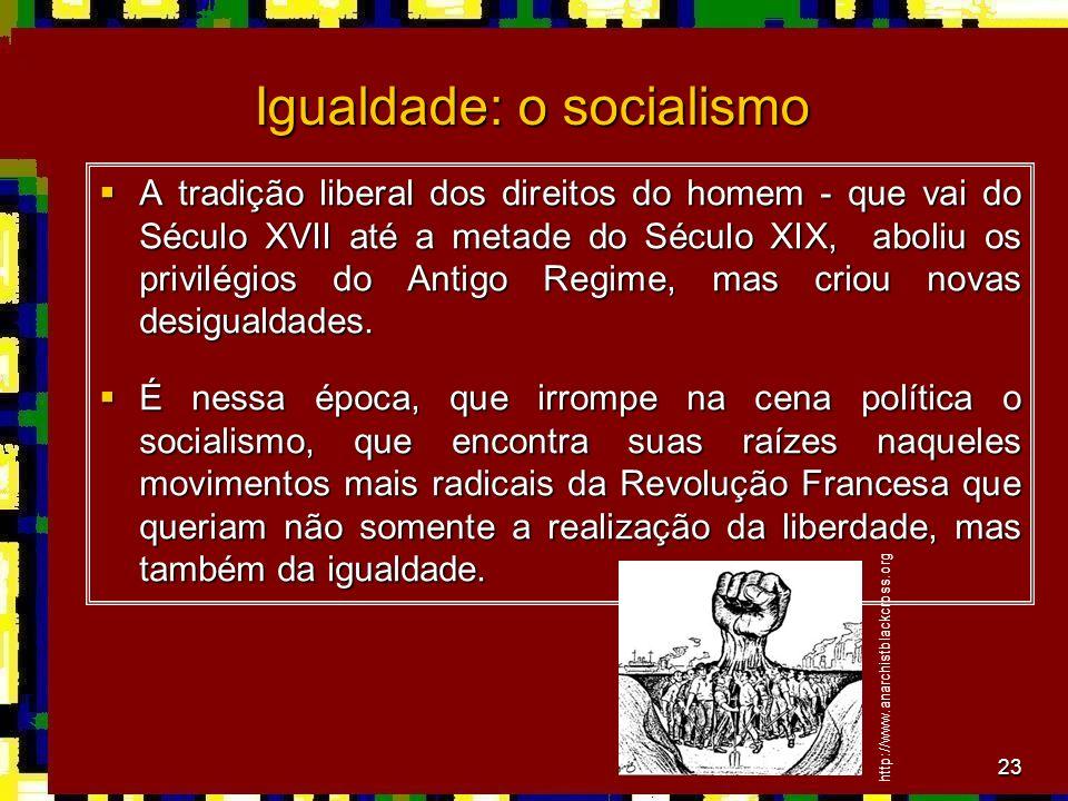 23 Igualdade: o socialismo A tradição liberal dos direitos do homem - que vai do Século XVII até a metade do Século XIX, aboliu os privilégios do Anti